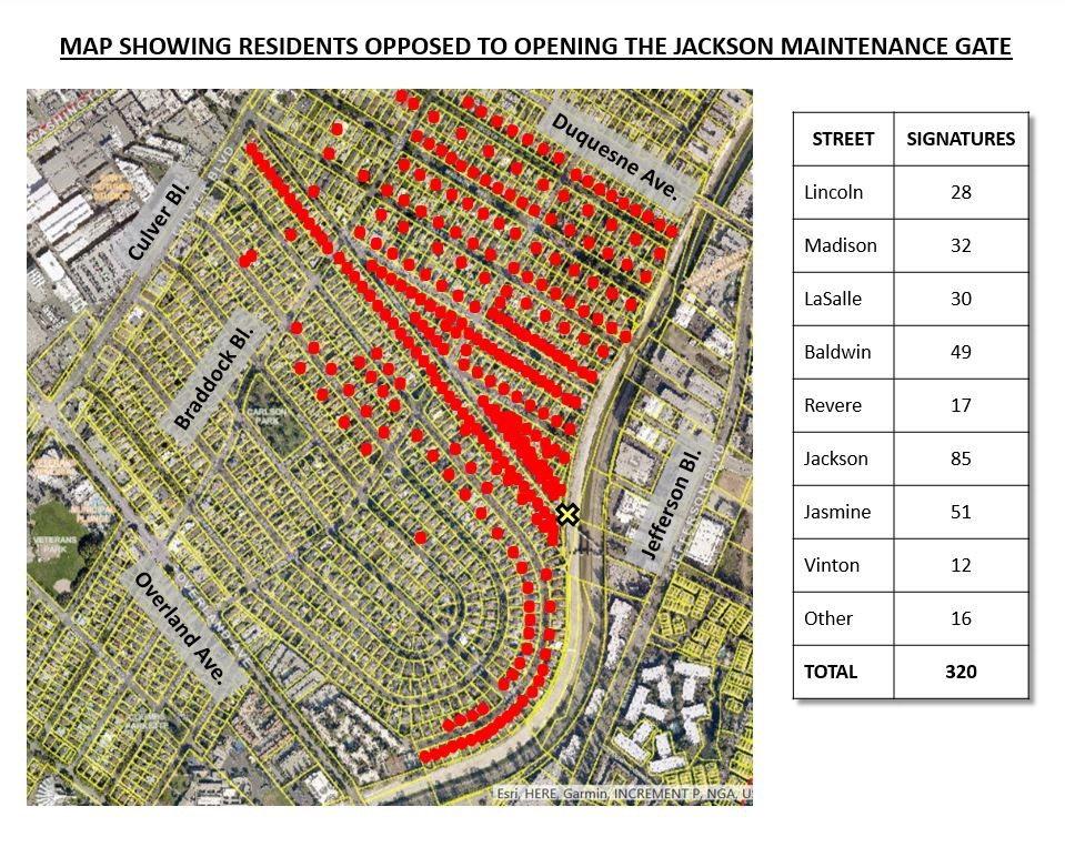 Map Showing Residents Opposed To Opening The Jackson Maintenance Gate